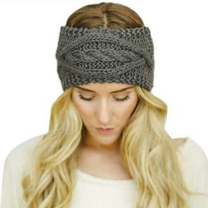 🌿 Women's Cable Knit Headband Solid Gray